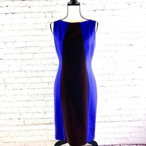 Anne Klein Colorblock Blue and Brown Dress Size 4